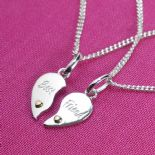 Best Friends Heart Pendants, personalised 925 Silver ref. SSBHP